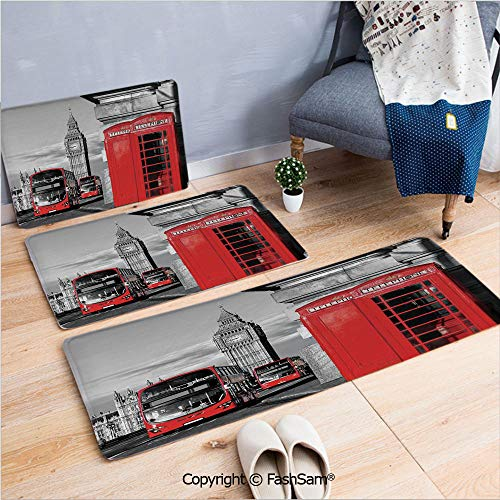 3 Piece Non Slip Flannel Door Mat London Telephone Booth in the Street Traditional Local Cultural Icon England UK Retro Indoor Carpet for bath Kitchen(W15.7xL23.6 by W19.6xL31.5 by W15.7xL39.4) ()