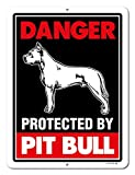 Pitbull Sign Danger Protected By Pit Bull 9 x 12 Inch Beware of Dog Warning Metal Aluminum Tin Sign - Pitbull Accessories, Pitbull Yard Signs