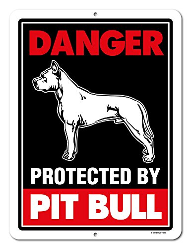 Pitbull Sign Danger Protected By Pit Bull 9 x 12 Inch Beware of Dog Warning Metal Aluminum Tin Sign - Pitbull Accessories, Pitbull Yard Signs by Honey Dew Gifts