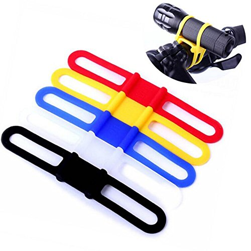Flashlight Bike Mount Silicone Strap Rubber Tie Down Straps Bicycle Silicone Band Flashlight Helmet Light Mount Phone Strap Tie Ribbon Mount Holder Torch Light Water Bottle Holder 5 Pack Random Color (Bike Handlebar Flashlight)