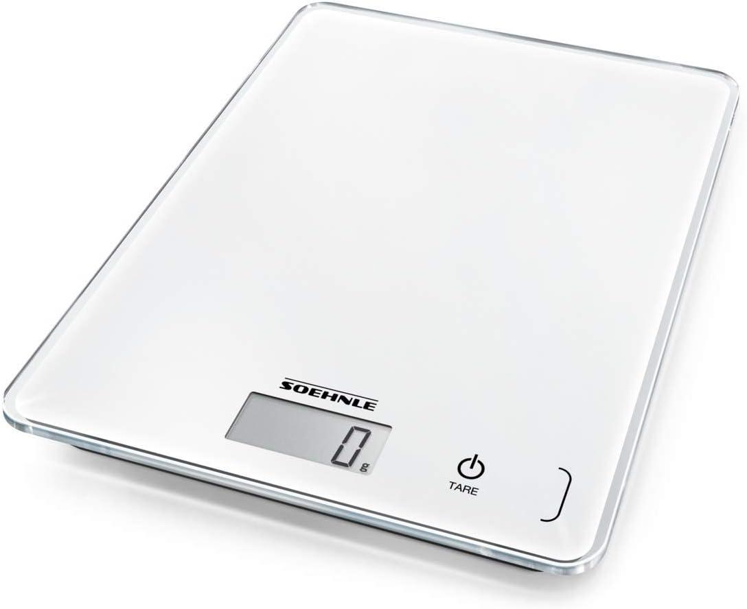 Soehnle Page Compact 300 - Báscula de cocina digital, color blanco