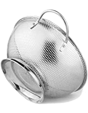 Stainless Steel Colander With Handles and Base, Professional Grade Large 5-Quart Strainer Is Perfect For Pasta, Rice, Noodles, Orzo And Fresh Fruits And Vegetables