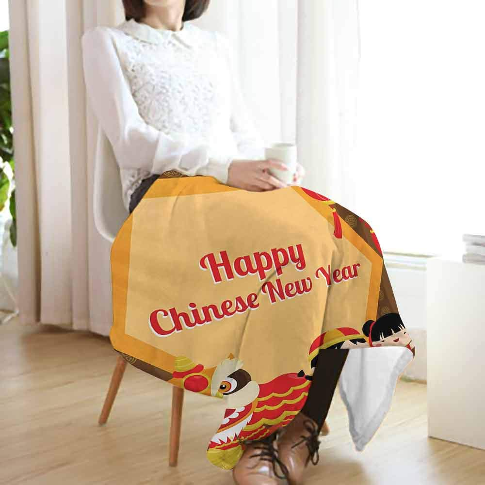 Chinese New Year Fleece Blanket,Text of Celebration in a Hexagon Shape with Traditional Animal and Kids Printing Throw Blanket for Couch(60''x50'')-Multicolor