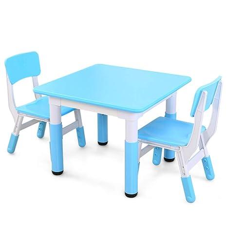Amazon.com: Juego de mesa y sillas para niños, mesa cuadrada ...
