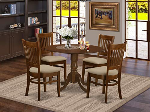 DLVA5-ESP-C 5 Pc set Dinette Table with 2 drop leaves and 4 Seat Chairs (Dining Round Sets Table)