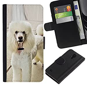 Graphic Case / Wallet Funda Cuero - White Poodle Standard Fluffy Tail Dog - Samsung Galaxy S4 IV I9500