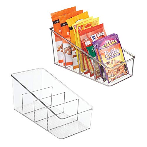 mDesign Large Plastic Food Packet Organizer Caddy – Storage Station for Kitchen, Pantry, Cabinet, Countertop – Holds Spice Pouches, Dressing Mixes, Hot Chocolate, Rice, Taco Seasoning ; 2 Pack – Clear