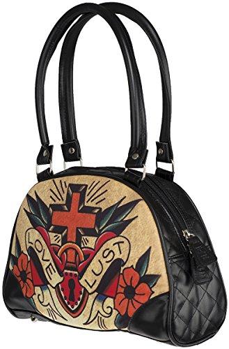Liquor Brand Damen Tasche Love Lust Oldschool Bag Schwarz Schwarz mit buntem Motiv Ai2HqjiG