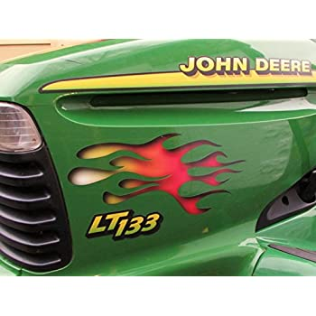 Flame Decals - White Hot Fire - Sunken Carved - for riding lawn mower tractor - 3pc. set for John Deere ride on mowers garden tractor