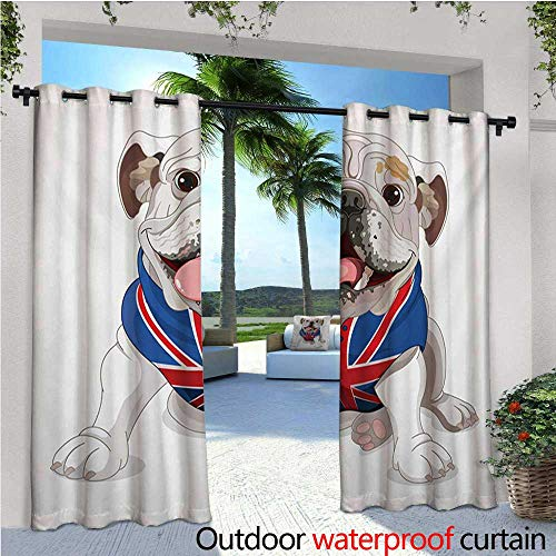 English Bulldog Outdoor- Free Standing Outdoor Privacy Curtain Happy Dog Wearing a Union Jack Vest Cartoon Style Animal Design for Front Porch Covered Patio Gazebo Dock Beach Home W120 x L108 Cream