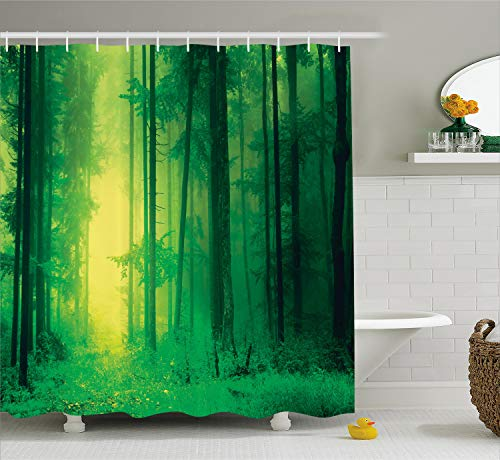 Ambesonne Green Shower Curtain Tree Mystic Decor, Fantasy Forest Tall Trees with Magical Light Fairy Twilight Art Print, Polyester Fabric Bathroom Shower Curtain Set with Hooks, Green Yellow