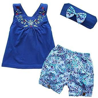 iEFiEL Pantalones de Cortos de Flores + Camiseta de Tirantes Bordada + Cinta de Cabeza con Lazo para Niña Bebé Recién Nacido Conjunto de Tres Piezas Azul Oscuro 18-24 Meses