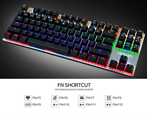 731c87365c8 Hcman 87 Keys Backlit Mechanical Gaming Keyboard Blue Switches,Anti ...