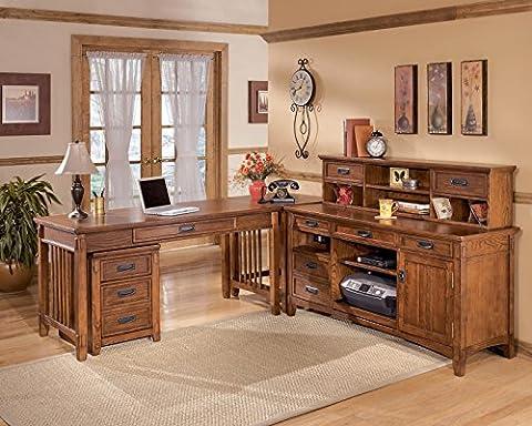 Cross Island Home Office L-Shaped Credenza Desk w/ File Cabinet in Medium Brown Oak Stain