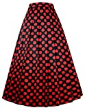 Black with Red Polka Dots Long Skirts for Wedding Party Size M BP351-1