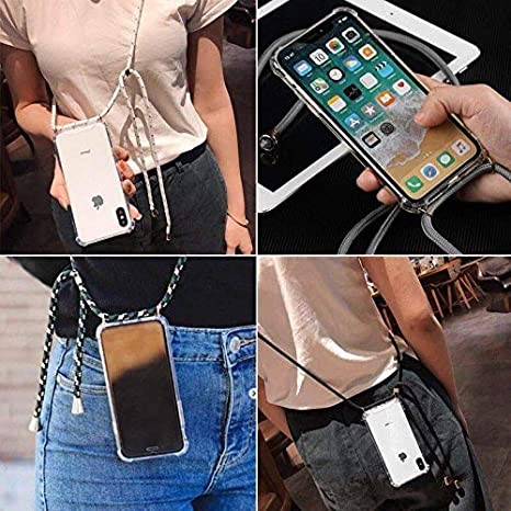 Rugged Bumper Frame Drop Protection,Black Shinyzone Lanyard Case Compatible with iPhone Xs//iPhone X,Case Cover with Neck Cord Strap Holder,Clear Transparent Hard Back