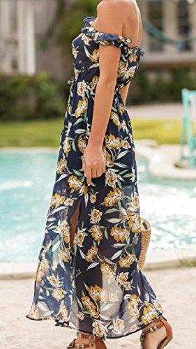 Beachwear Women Coolred Strapless Royal Out Dress Blue Shoulder Cut Printed UqwYFq4