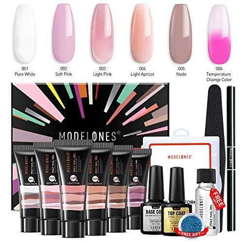 Modelones Poly Nail Gel Kit Enhancement Builder Temperature Color Changing Acrylic Extension with Slip Solution Trial Professional Technician All-in-One French Kit (Best Way To Get Fake Nails Off)