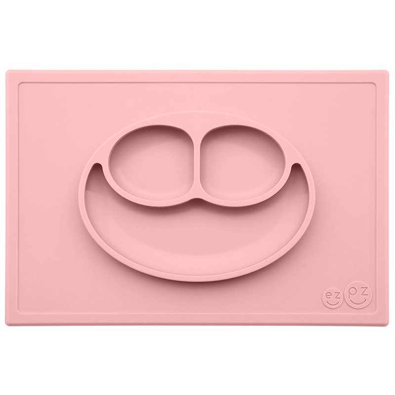 ezpz Happy Mat - One-piece silicone placemat + plate (Blush)