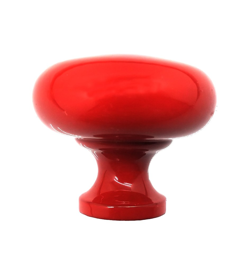 idh by St. Simons Professional Grade Quality Genuine Solid Brass 1-1/2'' Round Mushroom Knob (Red)