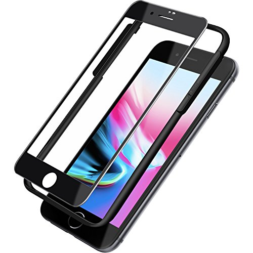 Missfeel phone 8/7 Screen protector HD  Tempered Glass Screen Protector for iPhone 8/iPhone 7[Full Coverage, Bubble-Free, 3D-Touch,Carbon fiber Soft border]