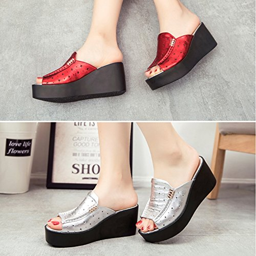 Color Slippers Colors UK5 2 5 Summer Sandals US7 Heel Bottom Height Outer Size PENGFEI 240 EU38 7CM Silver Thick Leisure Red Wedge Wear qg6w7cO45