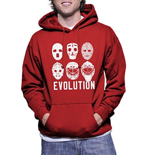 HAASE UNLIMITED Men's Evolution of Goalie Masks Hoodie Sweatshirt (Red, Small)