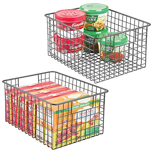 mDesign Farmhouse Decor Metal Wire Food Storage Organizer Bin Basket with Handles - for Kitchen Cabinets, Pantry, Bathroom, Laundry Room, Closets, Garage - 12 x 9 x 6 - 2 Pack - Graphite Gray