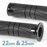 KiWAV Magazi handlebar hand grips black for Triumph Honda Suzuki Yamaha Kawasaki etc 7/8''(22mm) & 1''(25mm)