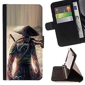 For Samsung Galaxy S3 III i9300 i747,S-type Guerrero samurai japonés Eclipse- Dibujo PU billetera de cuero Funda Case Caso de la piel de la bolsa protectora