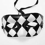 Paper Mache Black and White Half Mask