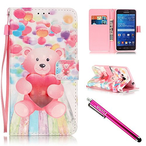 G530 Case, Galaxy Grand Prime Case, Firefish [Kickstand] [Card/Cash Slots] PU Leather Wallet Flip Cover with Wrist Strap for Samsung Galaxy Grand Prime G530 G530H G5308-Bear (Ice Cream Knobs compare prices)