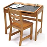Toy / Game Lipper International Child's Chalkboard Desk And Chair Set, Pecan - Crafted In Durable Beech Wood by 4KIDS