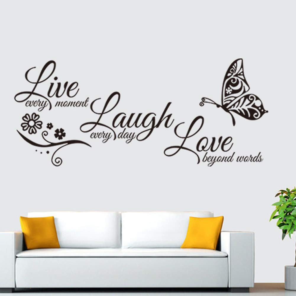 Live Every Moment Laugh Every Day Love Beyond Words Butterfly Wall Mural Decal Alphabet Saying Wall Decals Peel and Stick Vinyl Art Wall Stickers for Living Room Girls Women Bedroom Kids Room