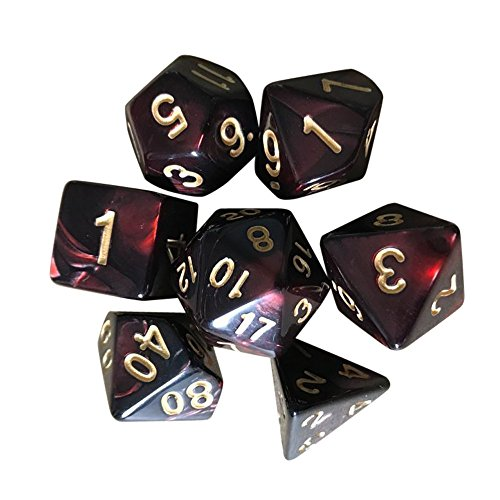 lotus.flower Game Dice,7PCs Durable Resin Polyhedral Dice Multi Sided- Fun Role Playing Gaming Props for Dungeons and Dragons RPG MTG Table Games and Teaching Math (E)
