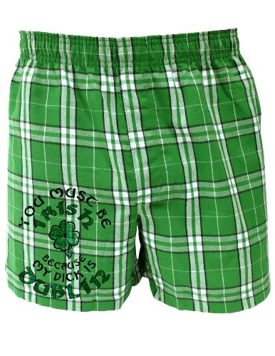TooLoud You Must Be Irish Because - St Patricks Day Boxers Shorts - KellyPlaid - Large