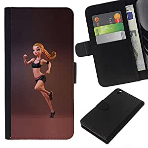 KingStore / Leather Etui en cuir / HTC DESIRE 816 / Monter femme Gymnaste course