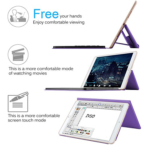IVSO Apple iPad Pro 10.5 Keyboard Case, Ultra-Thin DETACHABLE Wireless Keyboard Stand Case/Cover + Pencil holder for Apple iPad Pro 10.5-inch 2017 Version Tablet (Purple) by IVSO (Image #7)