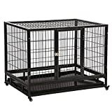 BMS 42'' Commercial Quality Heavy Duty Pet Dog Cage Crate Kennel With Wheels BestMassage
