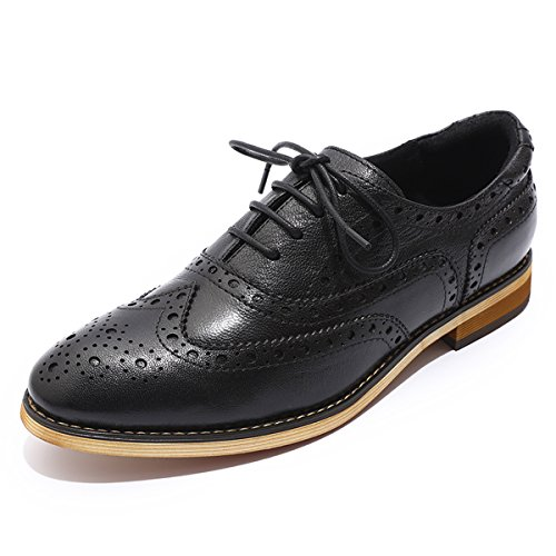 Mona Flying Women's Leather Perforated Lace-up Oxfords Shoes for Women Wingtip Multicolor Brougue (Perforated Oxford Shoes)