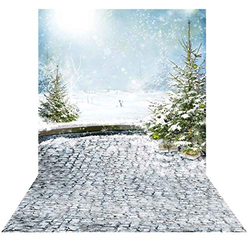 Allenjoy 5x7ft Winter Christmas Landscape Backdrop for Studio Photography Pictures White Snow Trees Stone Holiday Background Home Decoration Newborn Children Family Portrait Photo Shoot Props Supplies (Christmas Photos Winter Landscape)