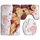 Art Pizza Painting Accessories Bathroom Rugs Set Fastness Bath-rugs Dries Quickly Lid Toilet Cover And Bath Mat