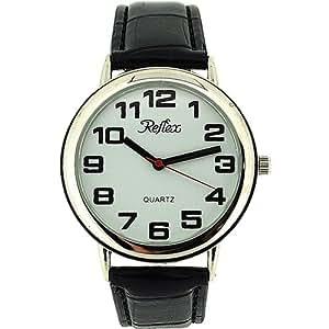 Reflex 106002 - Reloj de pulsera para mujer (esfera con números grandes, correa de 16 - 21 cm), color negro y plateado