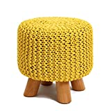 UUSSHOP Wood Support Upholstered Footrest Footstool Ottoman Pouffe Chair Stool Bench with 4 Beech Legs and Removable Handmade Knitted Woven Cotton Cover (Yellow)