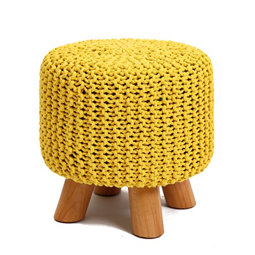 UUSSHOP Wood Support Upholstered Footrest Footstool Ottoman Pouffe Chair Stool Bench with 4 Beech Legs and Removable Handmade Knitted Woven Cotton Cover (Yellow) by UUSSHOP