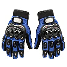 Carbon Fiber Motorcycle Motorbike Cycling Racing Full Finger Gloves Tonsiki (Blue, L)