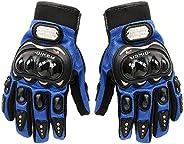 Carbon Fiber Motorcycle Motorbike Cycling Racing Full Finger Gloves Tonsiki (Blue, L)
