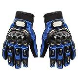 Tonsiki Carbon Fiber Motorcycle Motorbike Cycling Racing Full Finger Gloves Blue L
