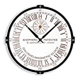 Greenwich Mean Time (GMT) Shepherd Gate unique large 24-hour analogue dial white and black clock face wooden wall clock (personalized gift)