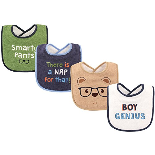 (Luvable Friends Baby Drooler Bib, 4 Pack, Boy Genius, One Size)
